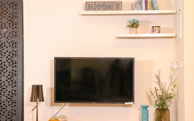 TV Console with Floating Shelf